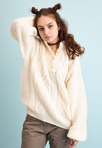 90's retro chunky neutral creamy oversized knit jumper