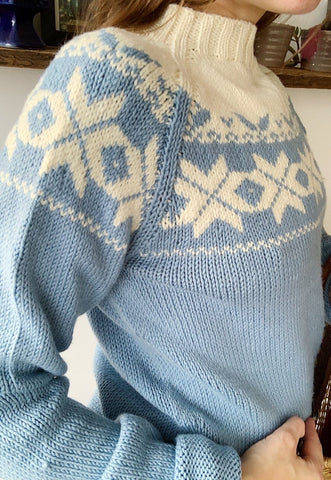 Vintage 70s Mod Fair Isle Christmas knit jumper sweater