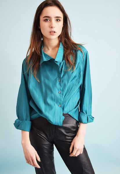 80's retro shimmer tuquoise party oversized shirt blouse