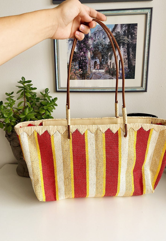 Vintage 90s Ethnic paper straw beach shoulder summer bag