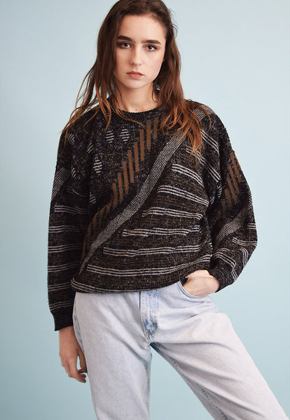 90's retro abstract knit oversized Dads jumper top