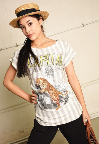 90's retro striped animal print t-shirt tee top