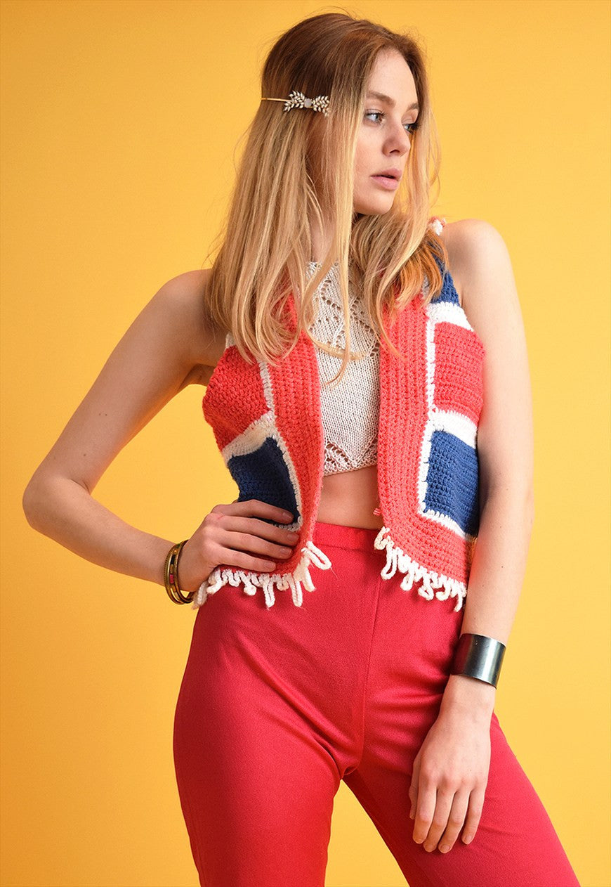 70s Style Jazzy Checked Customized Crochet Knit Gilet Top