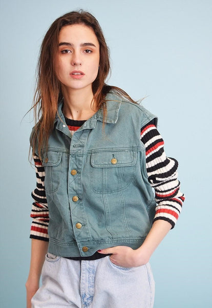 90's retro festival green Boyfriend's denim gilet top