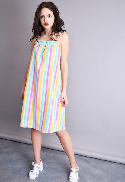 80's retro striped Boho loose country spaghetti mini dress