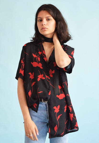 90's retro floral print sheer Moms loose-fitted blouse top
