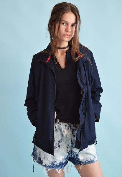 90's retro navy blue athleisure sports jacket top