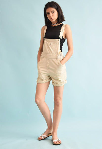 90's retro denim neutral one piece dungaree playsuit