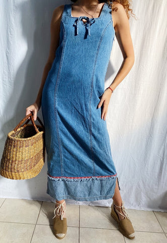 Vintage 90s denim Parisian maxi pinafore dress minimalist