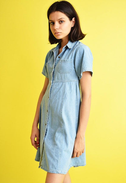 Vintage 90's retro denim Mom's midi dress