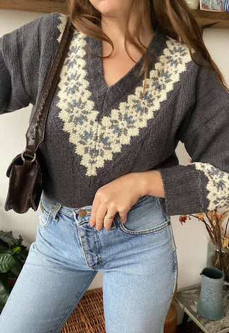 Vintage 90s Fair Isle Christmas  knit jumper sweater