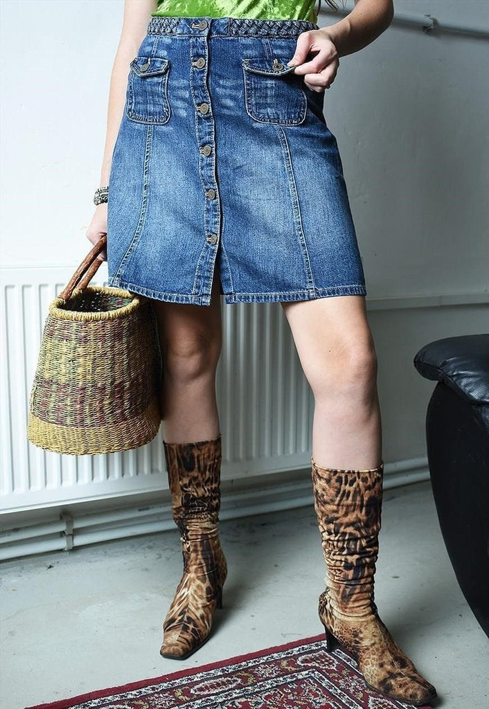 Vintage Y2K retro braided button up denim mini skirt