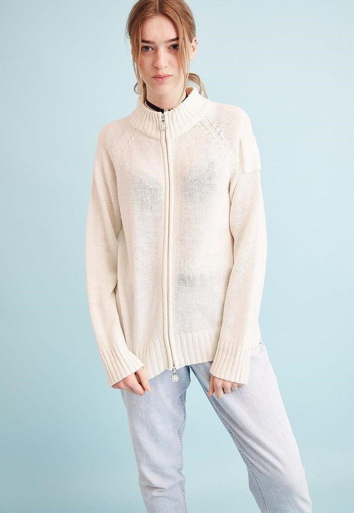 90's retro neutral oversized knit teen cardigan