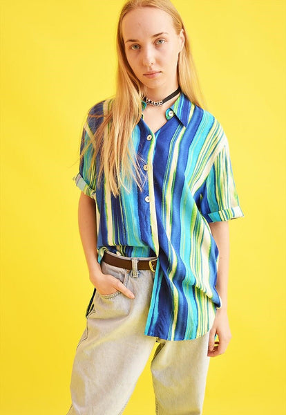 90's retro striped oversized Moms blouse top