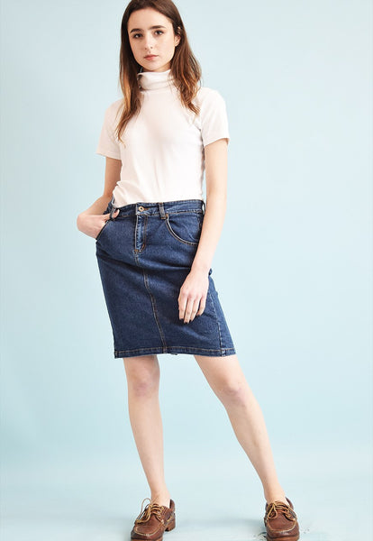 90's retro denim highwaisted Mom's midi skirt