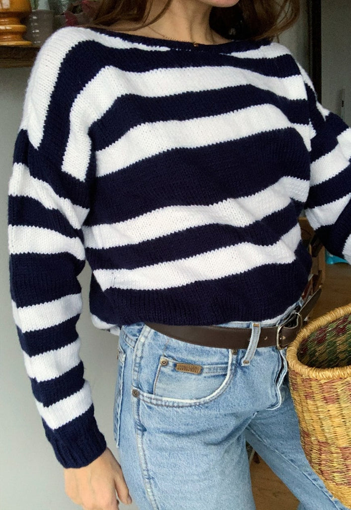 Vintage 80s Handknitted Nautical jumper sweater pullover