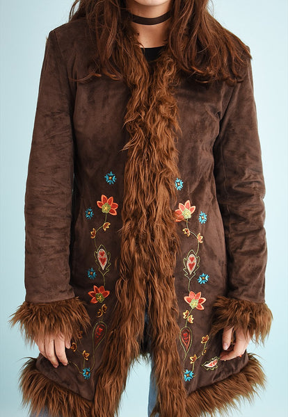 Y2K embroidered faux fur detailed coat