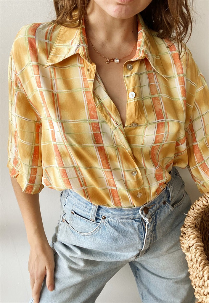 Vintage 80s Abstract Check print Boheme shirt blouse top
