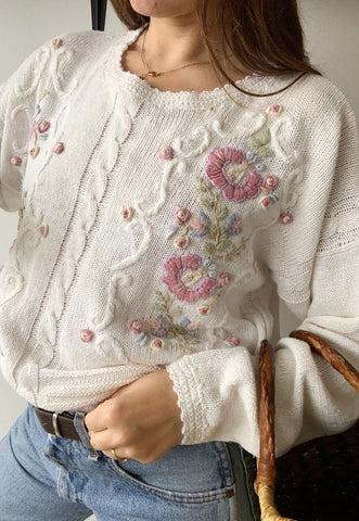 Vintage 80s floral knit countryside Parisian summer jumper