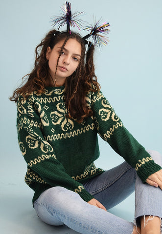 80's retro Fair Isle pattern handknit Christmas jumper