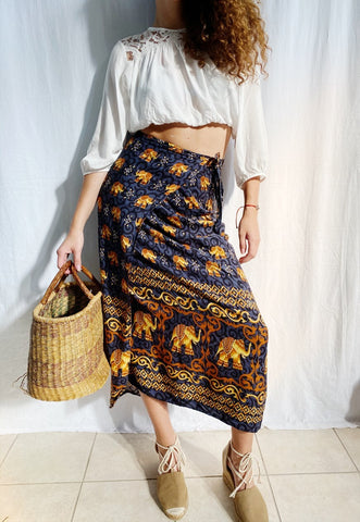 Vintage 90s Boho wrap up Elephant print maxi skirt