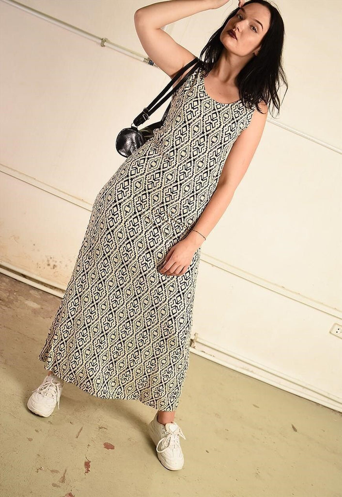 Vintage Y2K summer festival maxi dress with ethnic print