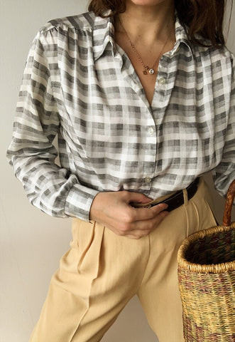 Vintage 60s Luxe Gingham check shimmer top shirt blouse