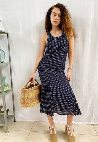 Vintage 90s Parisian Polka Dot Navy blue maxi day dress
