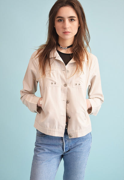 90's retro neutral embroidery teen crop jacket top
