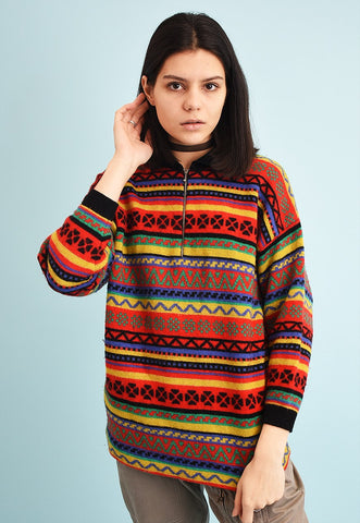 90's retro oversized short-sleeved knit jumper
