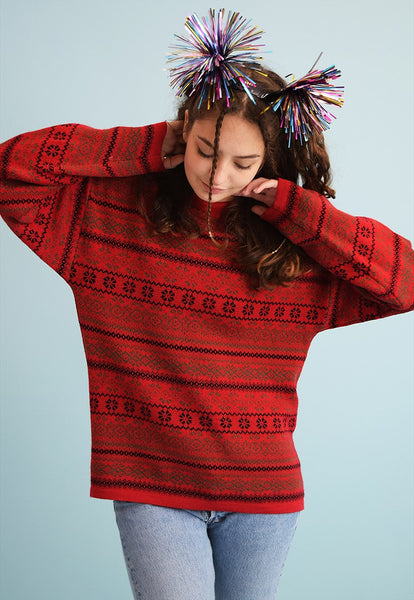 90's retro Fair Isle pattern oversized knit Christmas jumper