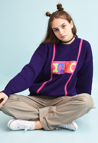 80's retro slogan wool knit jumper
