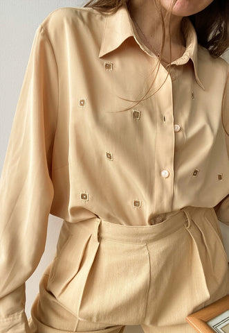 Vintage 90s Luxe Chic Minimalist Beige shirt top blouse