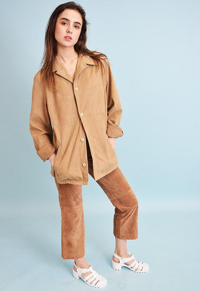 90's retro neutral faux suede Scandi style jacket