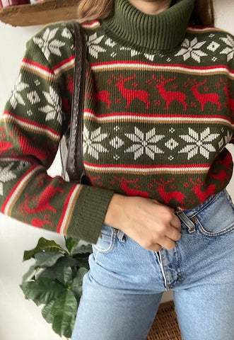 Vintage 70s Fair Isle Christmas Deer knit jumper sweater