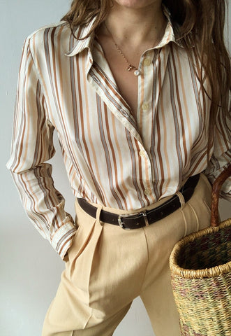 Vintage 60s Luxe Mod striped shimmer top shirt blouse