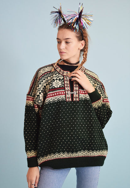 90's retro Nordic Fair Isle wool oversized Christmas jumper