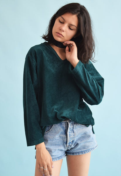 90's retro velveteen grunge oversized sweatshirt jumper top