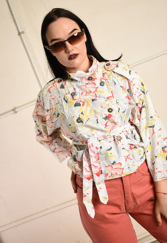 Vintage 80s outwear jacket top with floral print