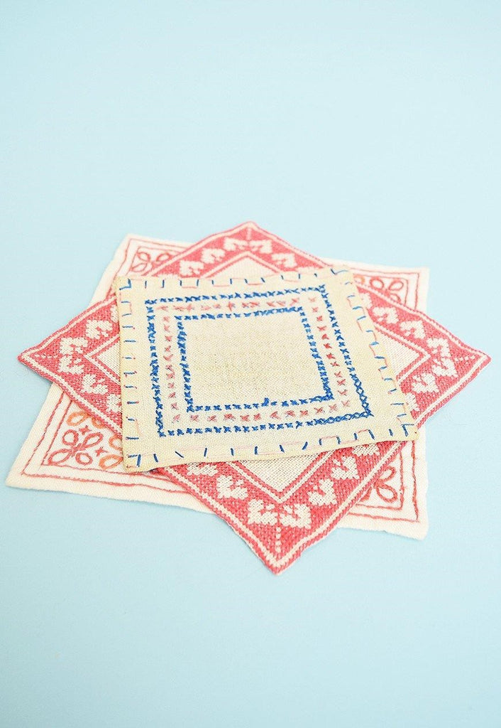 Set of three 70's hand embroidered hot pads cup coasters
