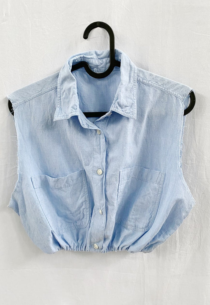Vintage 90s Reworked Baby Blue denim Boheme blouse crop top