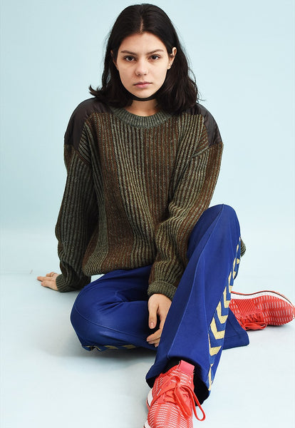 90's retro military style jazzy knit jumper