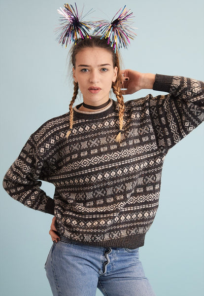 90's retro Fair Isle jazzy oversized knit Christmas jumper