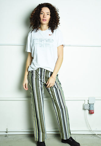 Vintage 90s retro psychedelic striped trousers multicolor