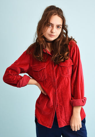 90's retro faux suede grunge oversized shirt top