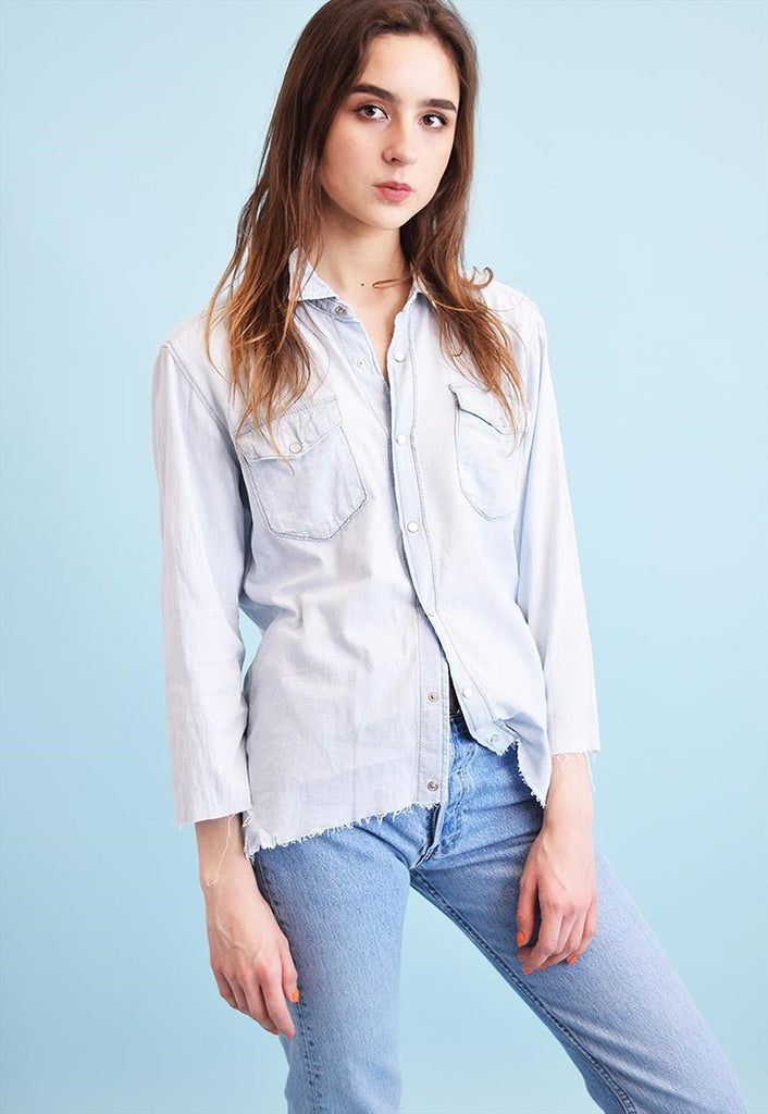 90's retro minimalist distressed denim grunge shirt top