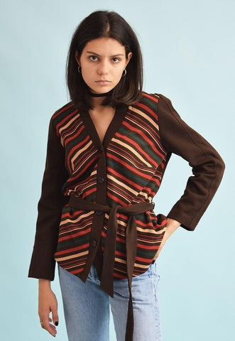 70's retro Mod striped knit cardigan top