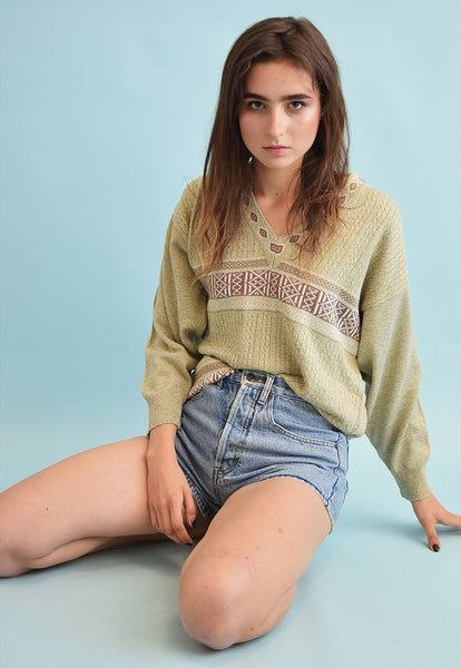 90's retro knit ethnic print oversized neutral Dads jumper