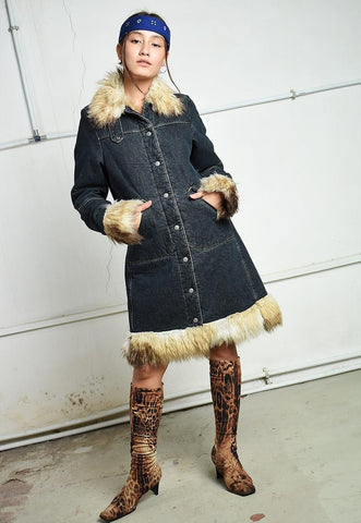 Vintage Y2K retro LEE denim & faux fur shearling jacket coat