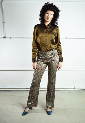 Vintage Y2K regular waist patterned gold shimmer trousers